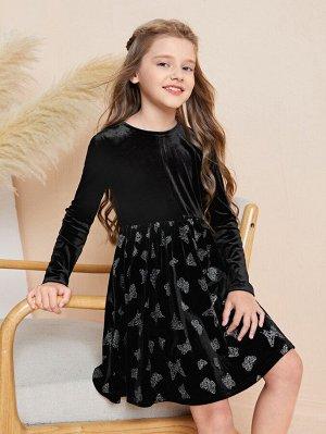 Платье с узором бабочки из бархата для девочек