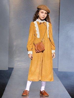 Платье с кружевной отделкой с аппликацией с рукавами-фонариками из вельвета для девочек