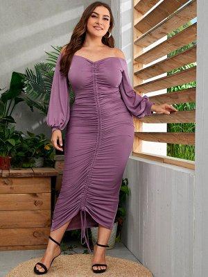Размера плюс Платье с рукавами-фонариками на кулиске с открытыми плечами