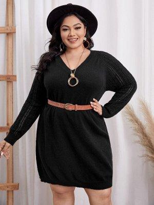 EMERY ROSE размера плюс Платье-свитер вязаный с рукавом-реглан без пояса
