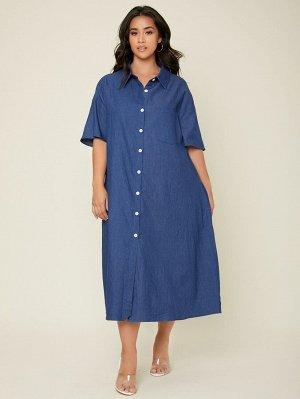 Платье-рубашка с карманом размера плюс