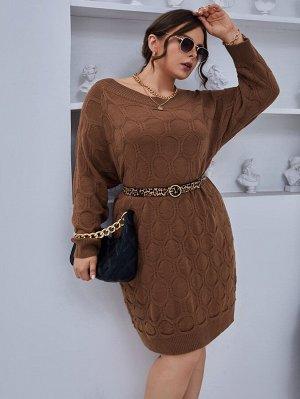 Размера плюс Платье-свитер с рукавом-реглан без пояса