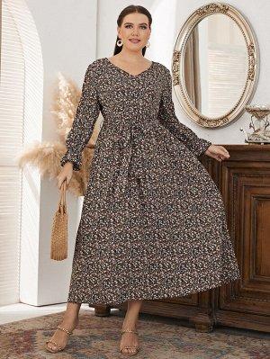 Размера плюс Платье с поясом с цветочным принтом с рукавами-воланами