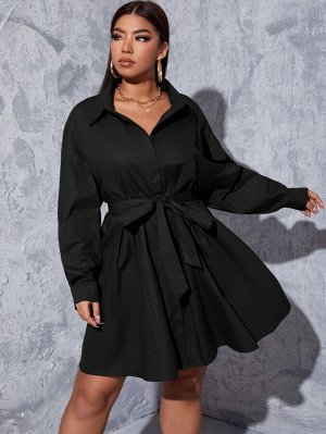 Размера плюс Платье-рубашка с воротником с поясом