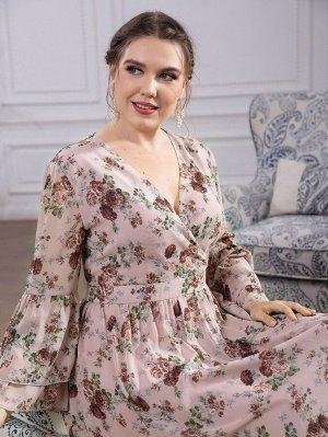 Платье с v-образным вырезом с цветочным принтом с рукавами-воланами из шифона размера плюс
