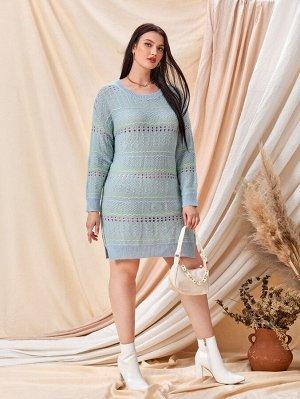 Размера плюс Платье-свитер в полоску вязаный с разрезом