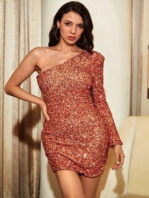 LOVE&LEMONADE Бархатное платье-русалка на одно плечо с блестками
