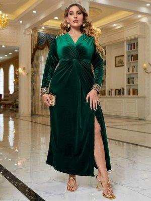 Размера плюс Платье блестками с вышивкой со сборками бархатный
