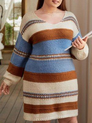 Размера плюс Платье-свитер в полоску