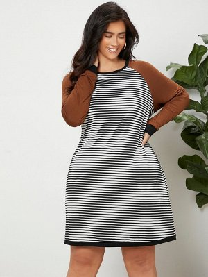 Контрастное платье в полоску с рукавом-реглан для размера плюс