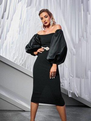 Платье с рукавами-фонариками с разрезом без пояса