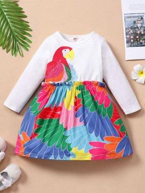Платье с принтом птицы для девочек