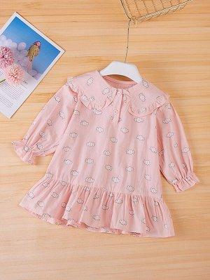 Платье с принтом конфет с рукавами-воланами для девочек
