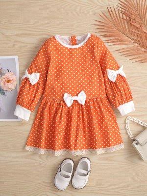 Платье в горошек с бантом с кружевной отделкой для девочек
