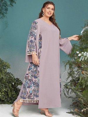 Платье с v-образным вырезом с принтом пейсли с бахромой размера плюс