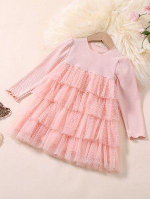 Платье с сетчатой вставкой многослойный для девочек