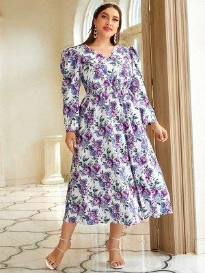 """Размера плюс Платье с v-образным вырезом с цветочным принтом с рукавами """"овечья ножка"""""""