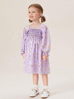 Платье с принтом сердечка для девочек