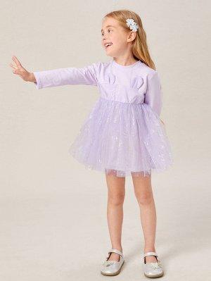 Платье с ушками 3D с сетчатой отделкой для девочек