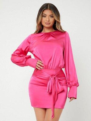 SXY Облегающее платье с рукавами-фонариками с узлом из атласа