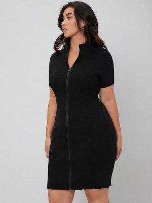 BASICS Вязаное платье-свитер в рубчик размера плюс