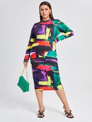 Размера плюс Облегающее платье с принтом контрастный с воротником-стойкой
