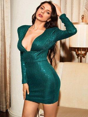 LOVE&LEMONADE Платье с открытой спиной и узлом блестками