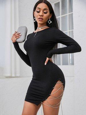 SXY Облегающее платье со стразами со шнурком