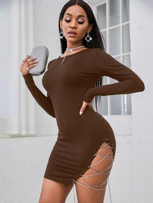 Облегающее платье со стразами со шнурком