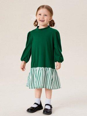 Платье в полоску с оборками с рукавами-фонариками с воротником-стойкой для девочек