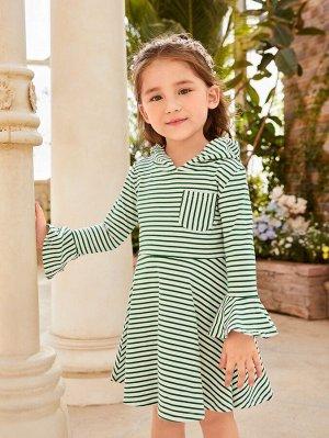 Платье с капюшоном в полоску с карманом с рукавами-воланами для девочек
