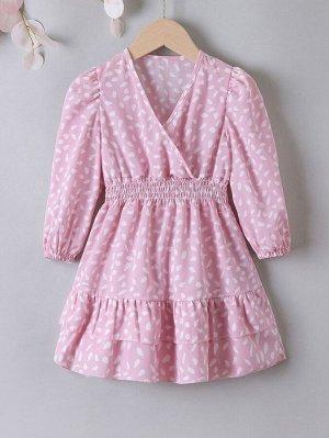 Платье с v-образным вырезом с далматинским принтом с оборками для девочек