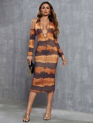 Платье с принтом тай-дай с открытой спиной с глубоким вырезом с разрезом