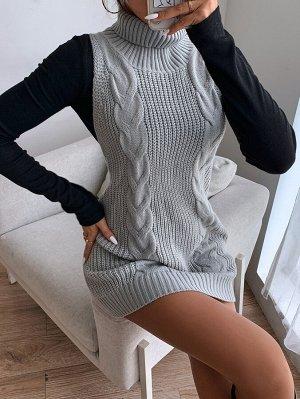 Вязаное платье-свитер без рукавов