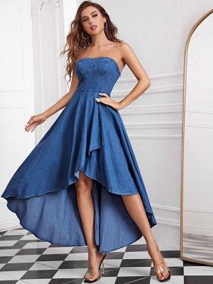 Платье без бретелек джинсовый