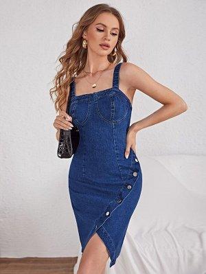 На пуговицах на молнии Одноцветный Институтский Женские джинсовые платья