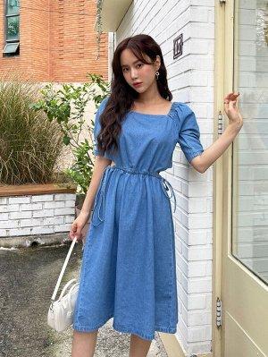 DAZY с разрезом на кулиске Одноцветный Повседневный Женские джинсовые платья
