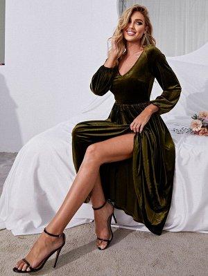 Платье с v-образным вырезом с рукавами-фонариками бархатный