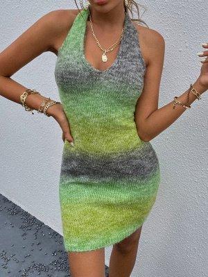 Облегающее платье-свитер омбре открытой спиной халтер