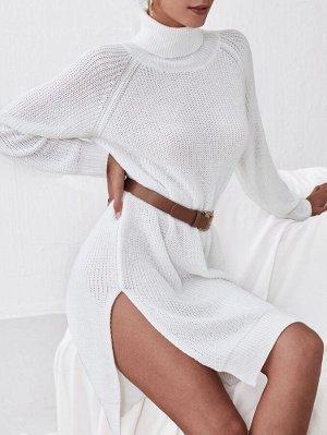 Платье-свитер с высоким воротником с рукавом-реглан с разрезом без пояса