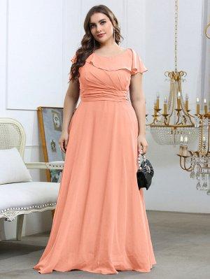 Шифоновое платье макси размера плюс со сборкой
