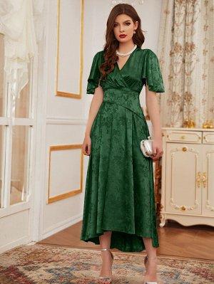 Платье с v-образным вырезом и жаккардовым узором