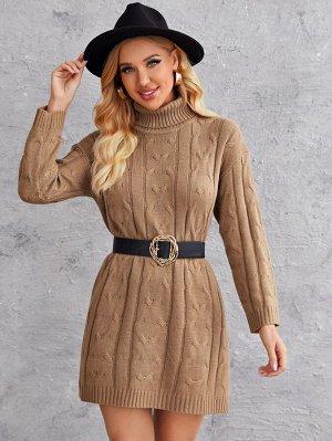 Вязаное платье-свитер с высоким воротником без пояса