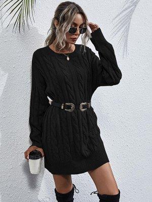 Вязаное платье-свитер без пояса