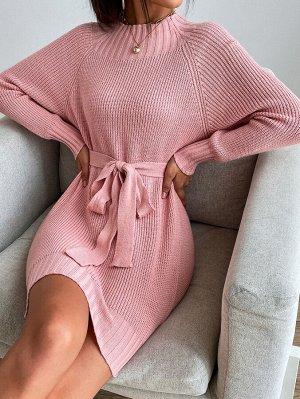 Платье-свитер с рукавом-реглан с поясом