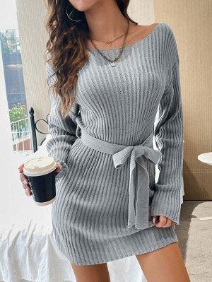 """Платье-свитер с вырезом """"лодочка"""" в рубчик поясом"""