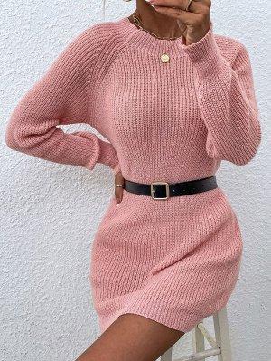 Платье-свитер с рукавом-реглан без пояса