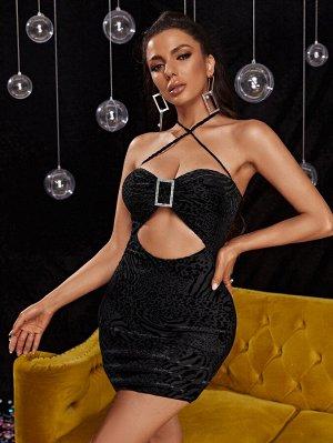 Бархатное облегающее платье из жаккарда со стразами и леопардовым принтом