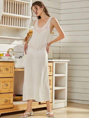 Платье открытой спиной вязаный