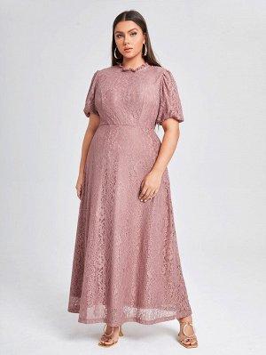 Однотонное кружевное платье размера плюс